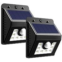 [2 PACK] Mpow Lampe Solaire LED Etanche Faro Lumiere 8 LED avec panneau solaire 3 Modes Intelligents / Luminaire exterieur Sans Fil avec Détecteur de Mouvement/ Eclairage exterieur Solaire pour Jardin, Patio, Pont, Allée et Garage comme applique exterieur