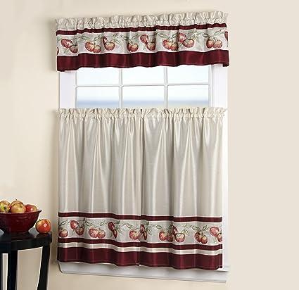 025373d61dd 3 piezas niveles estores y cortinas para ventana de cocina: Amazon ...
