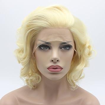 Lushy Wavy Short Light Blonde Wig Heavy Density