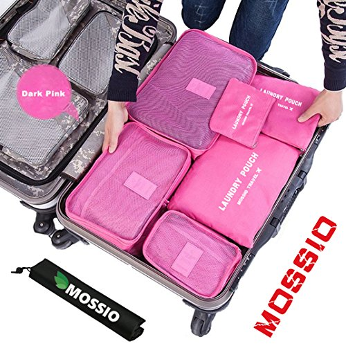 Travel Bag,Mossio 7pcs Luggage Pouch Durable Compact Trip Gears Dark Pink