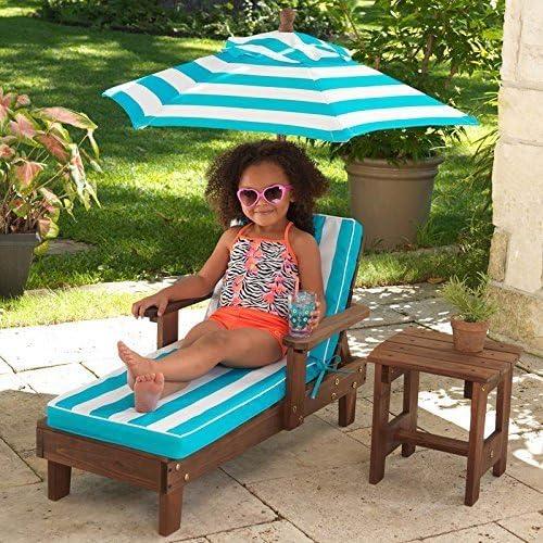 Chaise con paraguas KidKraft tumbona y mesa auxiliar con accesorios de jardín al aire libre silla: Amazon.es: Jardín