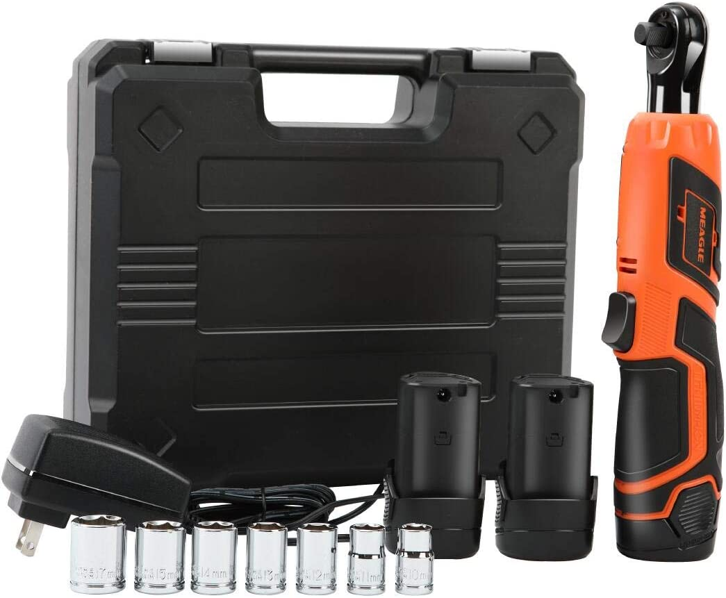 "Meagle 3/8"" Cordless Ratchet Wrench Set with 2 Batteries & Fast Charger, 7 Sockets, Carrying Case RW08-1120"