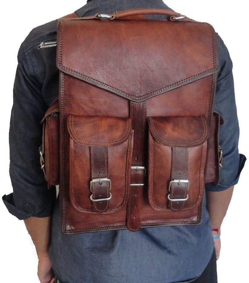 Men/'s Backpack Laptop Rucksack Real Handmade Leather Messenger Shoulder Bag