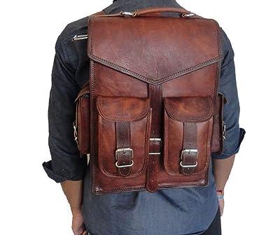 Handmade World Brown Vintage Leather Backpack Laptop Messenger Bag Rucksack Sling