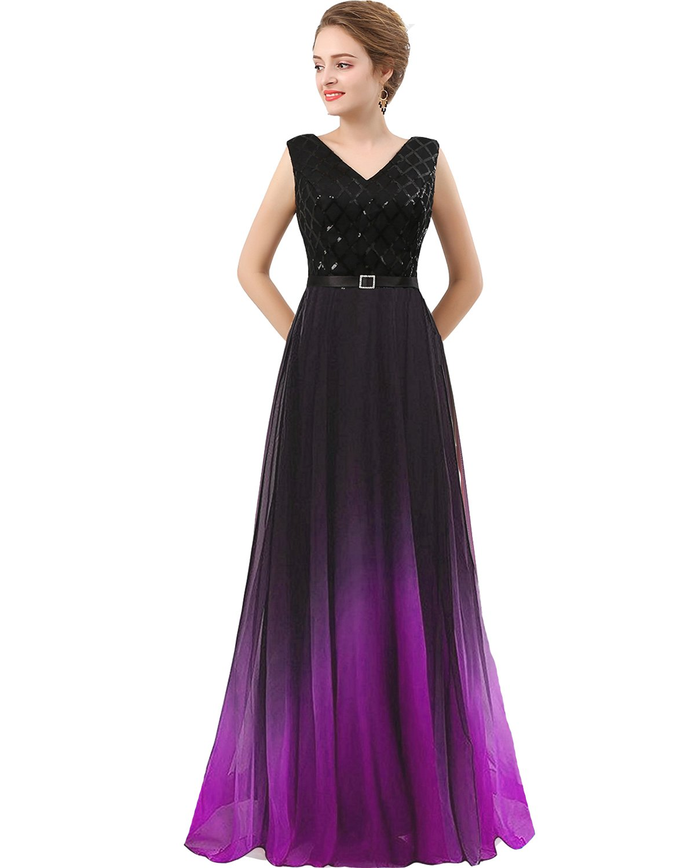 Plus Size Black Sequined Ombre Chiffon Gradient Prom Evening Dress Purple  US 18W
