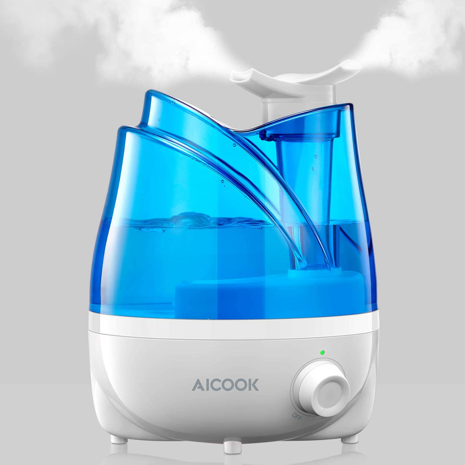 AICOOK Humidifier, Ultrasonic 30dB Cool Mist Humidifiers with Exclusive 360° Rotatable Double Nozzles, Quiet for Bedroom Babyroom Liveroom, 24 Hours
