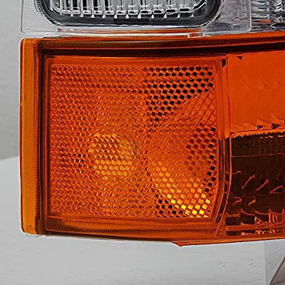 For 1999-2004 Ford F250 F350 F450 F550 SuperDuty Excursion Chrome Headlights With Amber Bumper Signal Light Lamps: Automotive