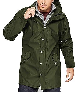 ff32a93f75276 URRU Men's Lightweight Waterproof Rain Jacket Packable Hooded Long  Windbreaker Jackets Army Green S