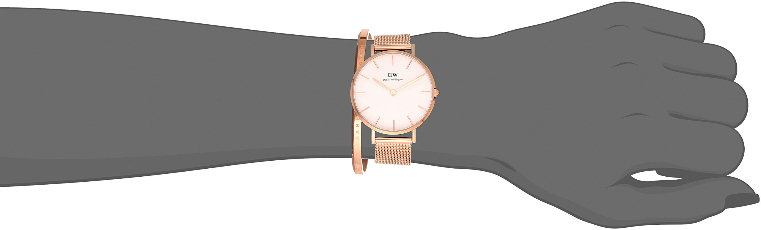 Daniel Wellington Gift Set, Classic Petite Melrose 32mm Watch with Rose Gold Classic Cuff, Color:Rose Gold-Toned (Model: DW00500003) by Daniel Wellington (Image #3)
