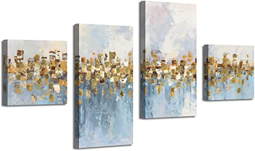 Abstract Art Seascape Picture Paintings: Glowing Sandy Forest Gold Foil Oil Painting Print on Canva