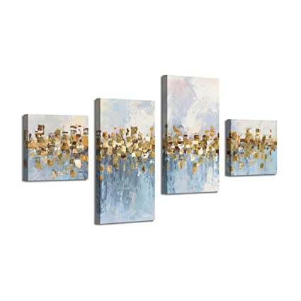 Abstract Art Seascape Picture Paintings Glowing Sandy Forest Gold Foil Oil Painting Print On Canvas For Walls