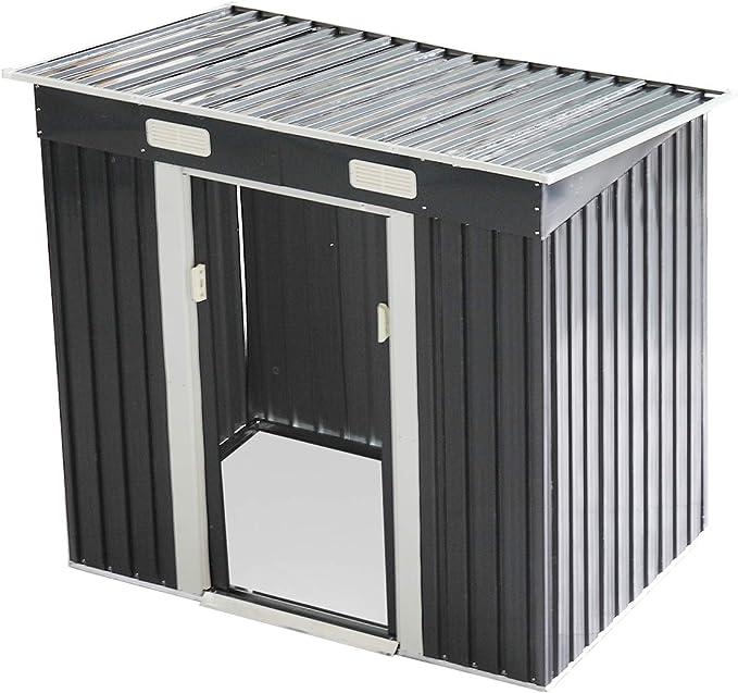 LAZYMOON cobertizo de acero galvanizado con puerta corredera para ...