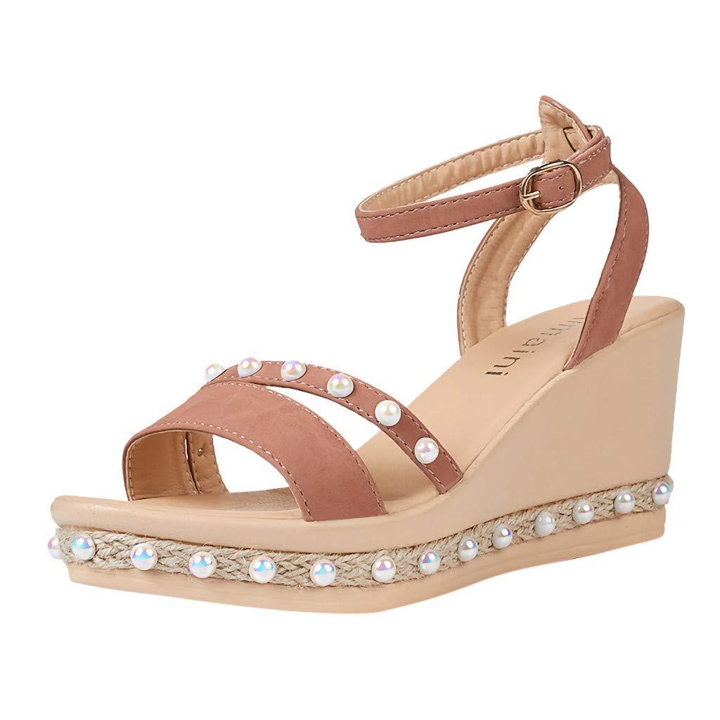 Womens Espadrille Wedge Peep Toe Sandals Casual Summer Buckle Strap Platform Shoes High Heel Sandal (US:7.5, Pink)