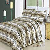 Luxury 3PC King/Calking Printed Black and Brown Safari Duvet Cover Set, 300 Thread Count 100 % Egyptian Cotton fiber reactive prints with matching pillow shams