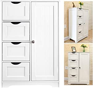 HuiDao Wooden Floor Cabinet Storage Organizer Cabinet with 4 Drawers and 1 Door for Bathroom, Entryway, Home, Office, 22x12x32 Inch, White