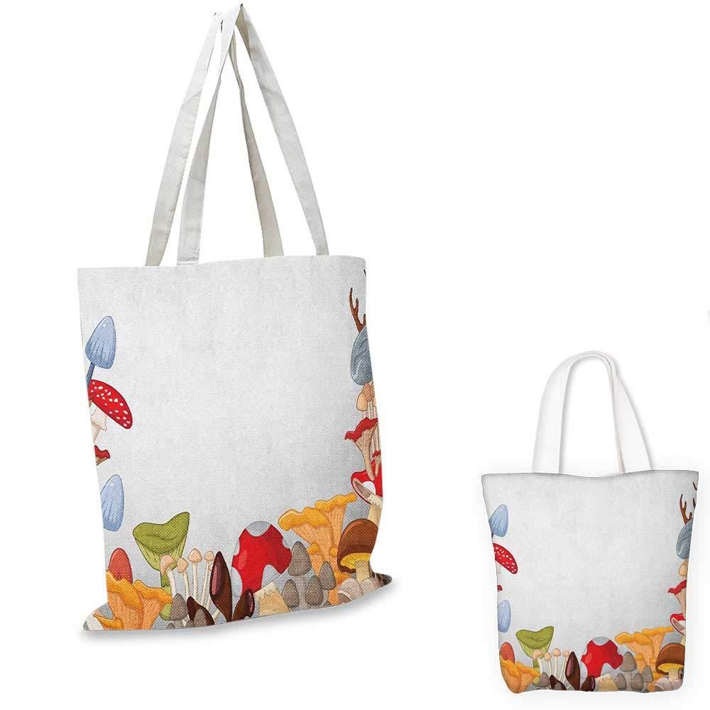 Mushroom canvas messenger bag Bunny with Easter Egg under Rainbow Happy Rabbit in Nature Kids Theme Fun Design canvas beach bag Multicolor 12x15-10
