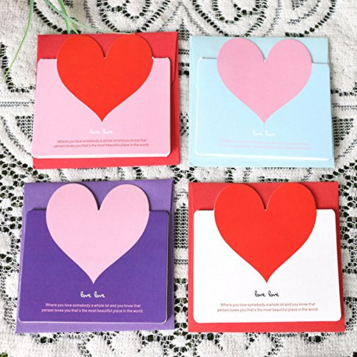 S&M TREADE-Lovely 3pcs Heart-shaped Birthday Christmas Greeting Message Card - Is Face A Shaped Heart What
