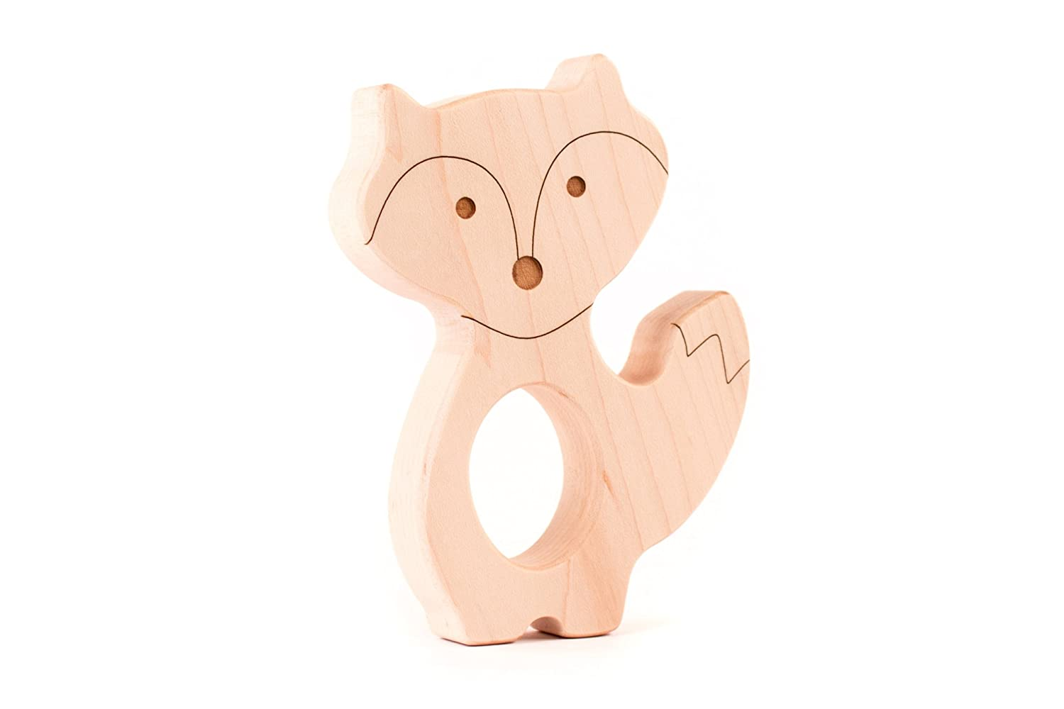 fox natural wooden baby teether toy
