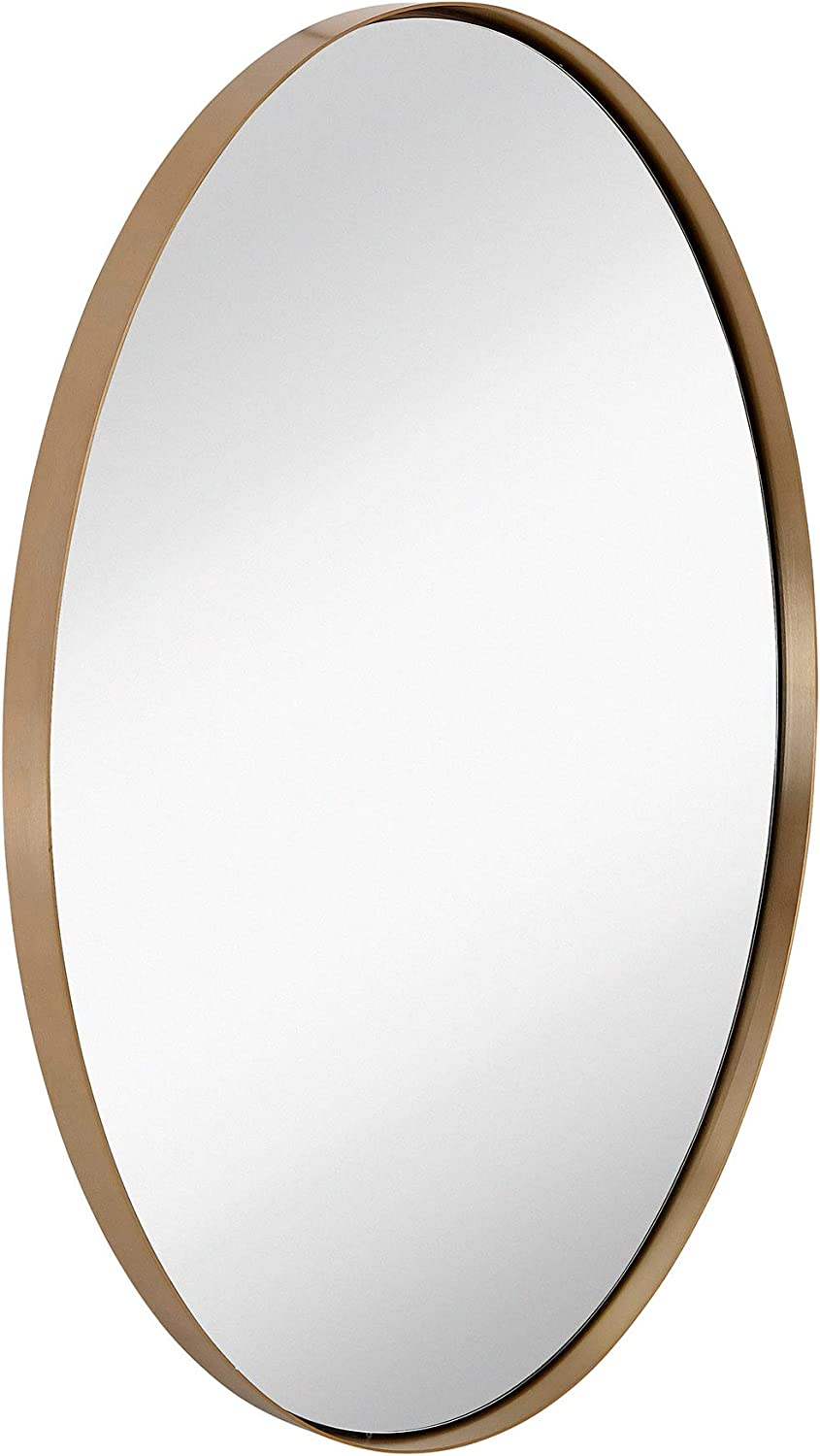 "Hamilton Hills Contemporary Brushed Metal Wall Mirror | Oval Gold Framed Rounded Deep Set Design | Mirrored Hangs Horizontal or Vertical (24"" x 36""): Home & Kitchen"