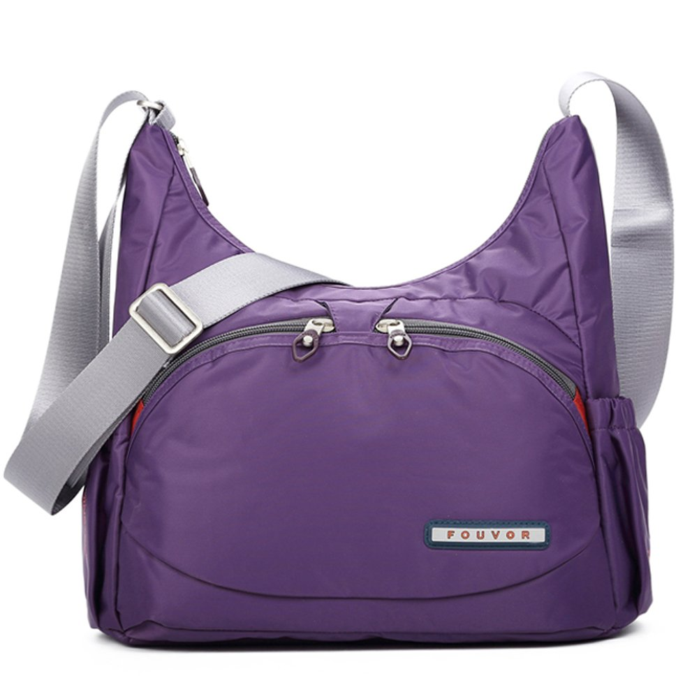Fouvor Crossbody Hobo Bag Lightweight Waterproof Travel Shoulder Bag (258705 Purple,Medium)