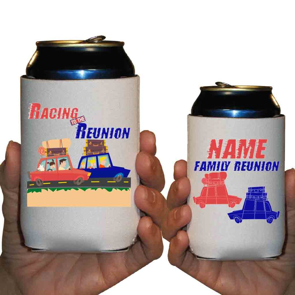 Custom Family Reunion Can Cooler Sleeves- Race To The Reunion Party Pack 12-16oz Can/Bottles Great For Family Reunion Parties (100) by VictoryStore