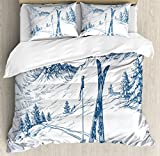 Ambesonne Winter Duvet Cover Set King Size by, Sketchy Graphic of a Downhill with Ski Elements in Snow Relax Calm View, Decorative 3 Piece Bedding Set with 2 Pillow Shams, Blue White