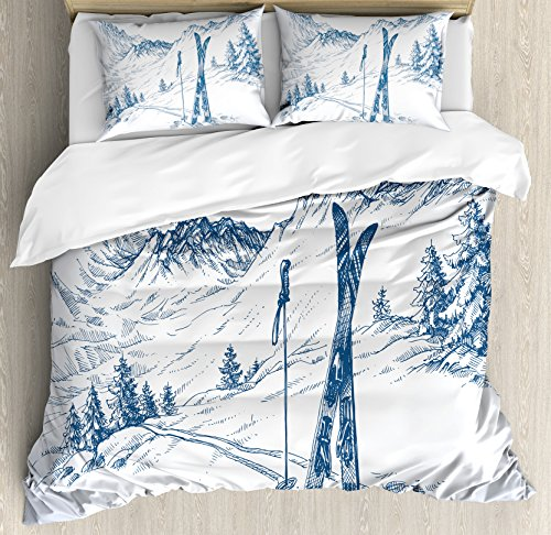 Ambesonne Winter Decorations Duvet Cover Set, Sketchy Graphic of a Downhill with Ski Elements in Snow Relax Calm View, 3 Piece Bedding Set with Pillow Shams, Queen/Full, Blue (Ski Home Decor)