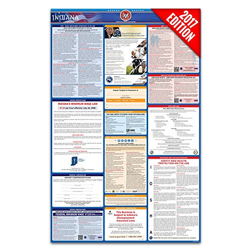 2017 Indiana Labor Law Poster – State & Federal Compliant – Laminated