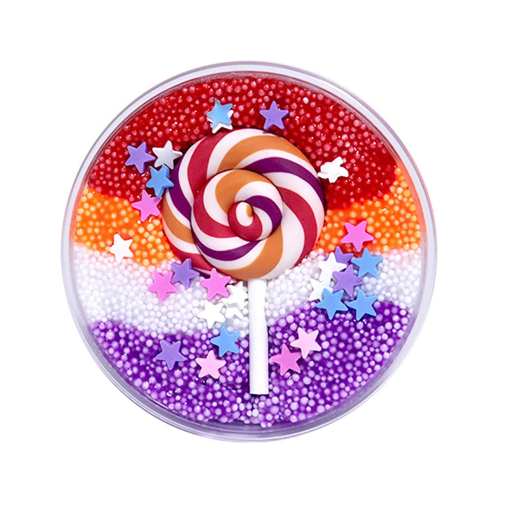 Livoty Beautiful Color Mixing Cloud Slime Mud Fluffy Cotton Candy Slime DIY Stress Relief Kids Funny Sludge Toy Gift (C)