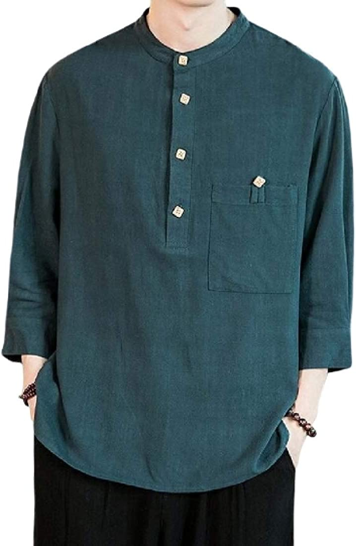 Jofemuho Men 3//4 Sleeve Linen Mandarin Collar Casual Buttons Shirts
