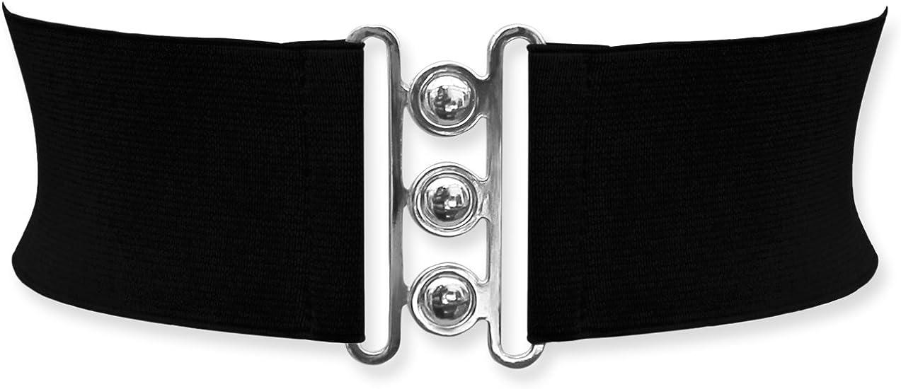 BlackButterfly 3 Inch Elastic Waist Clasp Belt Black, US 18-20