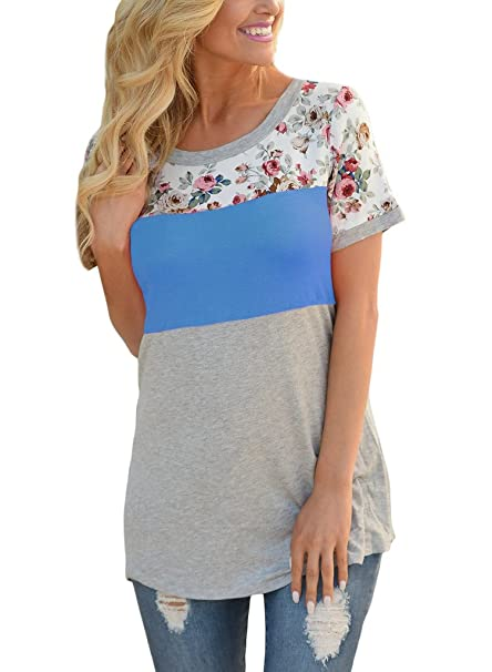 HOTAPEI Women Casual Floral Print Short Sleeve Colorblock Shirts Blouse Tops  Royal Blue Small