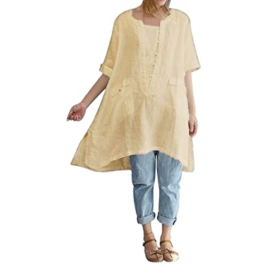 Oksale Women Plus Size Irregular Fashion Loose Linen Short Sleeved Shirt Vintage Blouse (Beige,