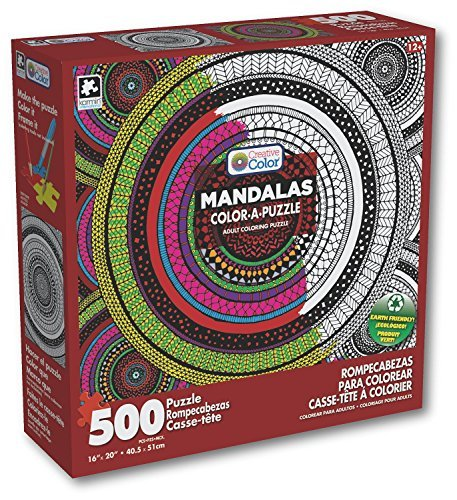 Karmin International Creative Color-A-Puzzle Adult Coloring Meditation Circles Mandala Puzzle (500 Piece)