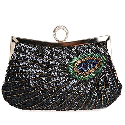 Women's Beaded Evening Bags Black Belsen Sequin Feathers Ring Peacock Wedding HqHdBgFp