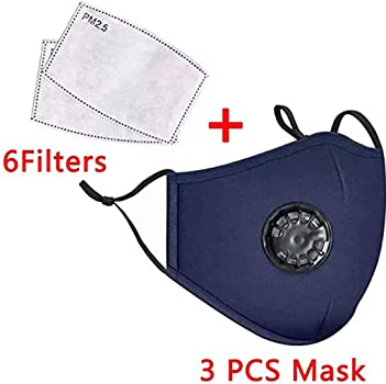 Activated Carbon Filter Replaceable Haze Dust Face Health Tixgod Outdoor Healthy Face Protective 4PC+ 10 Filter,Cotton Adults Face M/àsc Bandanas with Breathing valve