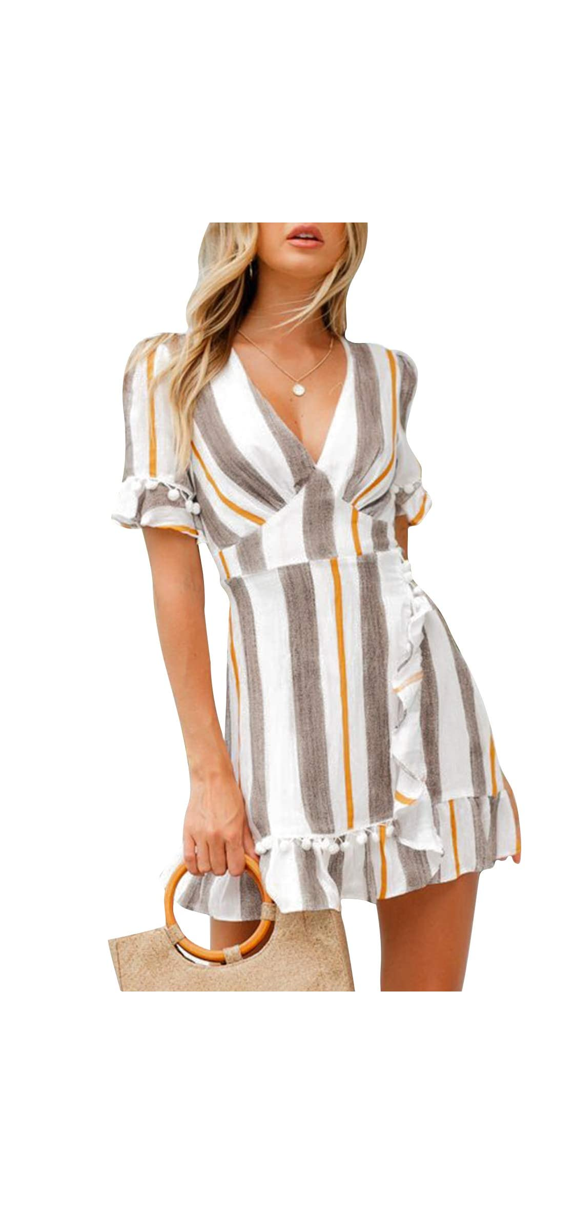 Simplee Women Sexy Deep V-neck Short Sleeve Stripe Print Mini A