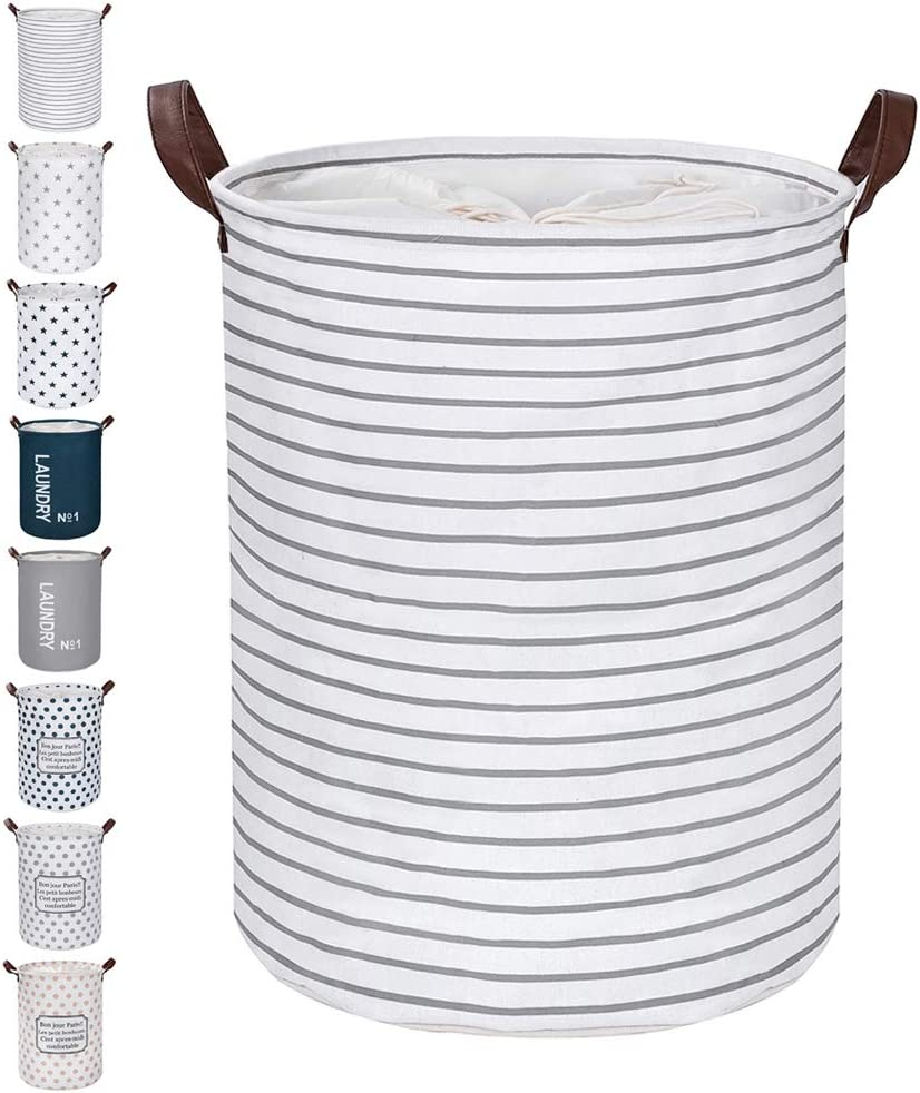 "FRIENDIY Large Laundry Hampers (9 Colors), Removable Laundry Basket, Foldable Fabric Laundry Basket, Drawstring Waterproof Round Cotton Linen Storage Basket. (Grey Strips, Thickened 22""/X-Large)"