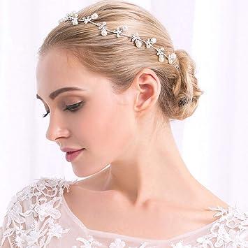 Deqiaode Braut Perle Braut Haar Vine Silber Stirnband