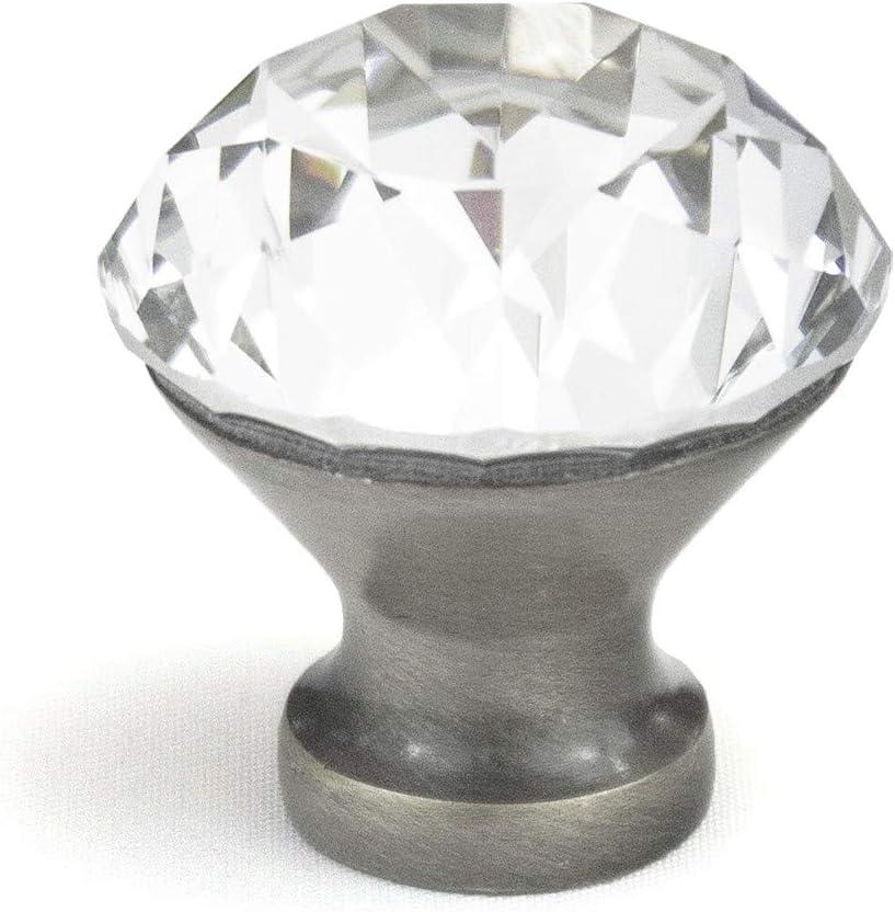 Badgley Mischka Crystal Knob Diamond ( Set of 10) Satin Nickel Base; Large Radiant Cut 1.2
