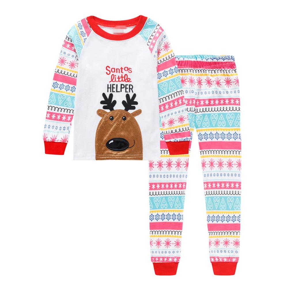Pijamas Navidad Familia Conjunto Manga Larga Alce patrón Tops y Pantalones, Fiesta Trajes Navideños Pijama Dos Piezas Niños Niña Ropa de Dormir/Alce ...