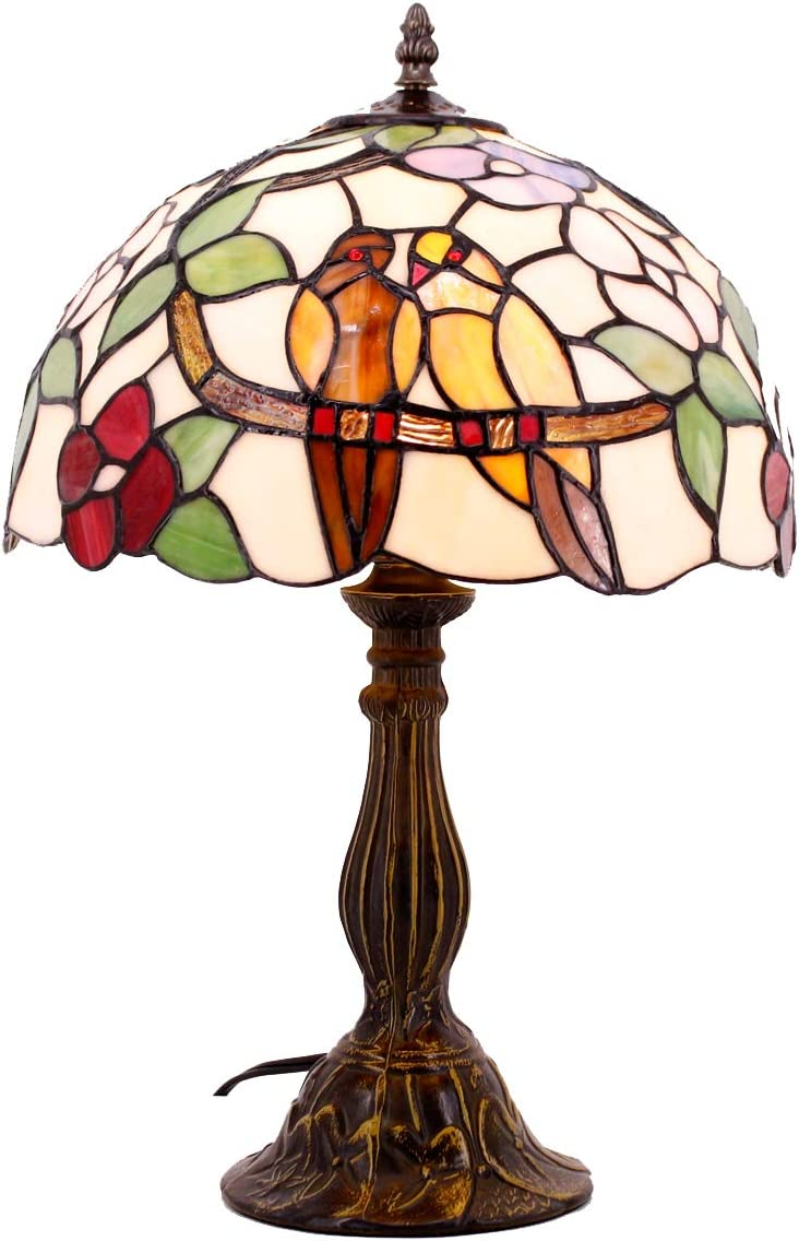 Tiffany Table Lamp Stained Glass Double Tropical Birds Table Lamps Height 18 Wide 12 Inch for Living Room Antique Desk Beside Bedroom with Antique Style Zinc Base S803 WERFACTORY