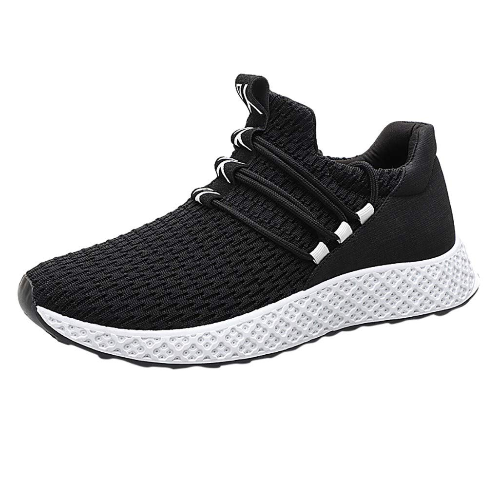 Men Walking Weaving Sneakers Mesh Casual Breathable Sport Slip On Mesh Lightweight Running Shoes (US:9.5, Black)