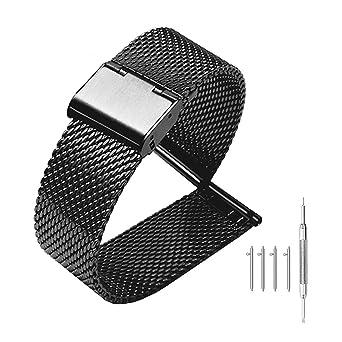 half off 927c9 73a92 20mm 腕時計ベルト メタルバンド 時計バンド ステンレス クイックリリース 交換ベルト ミラネーゼ メッシュ ベルト ブラック Samsung  Gear S2 バンド