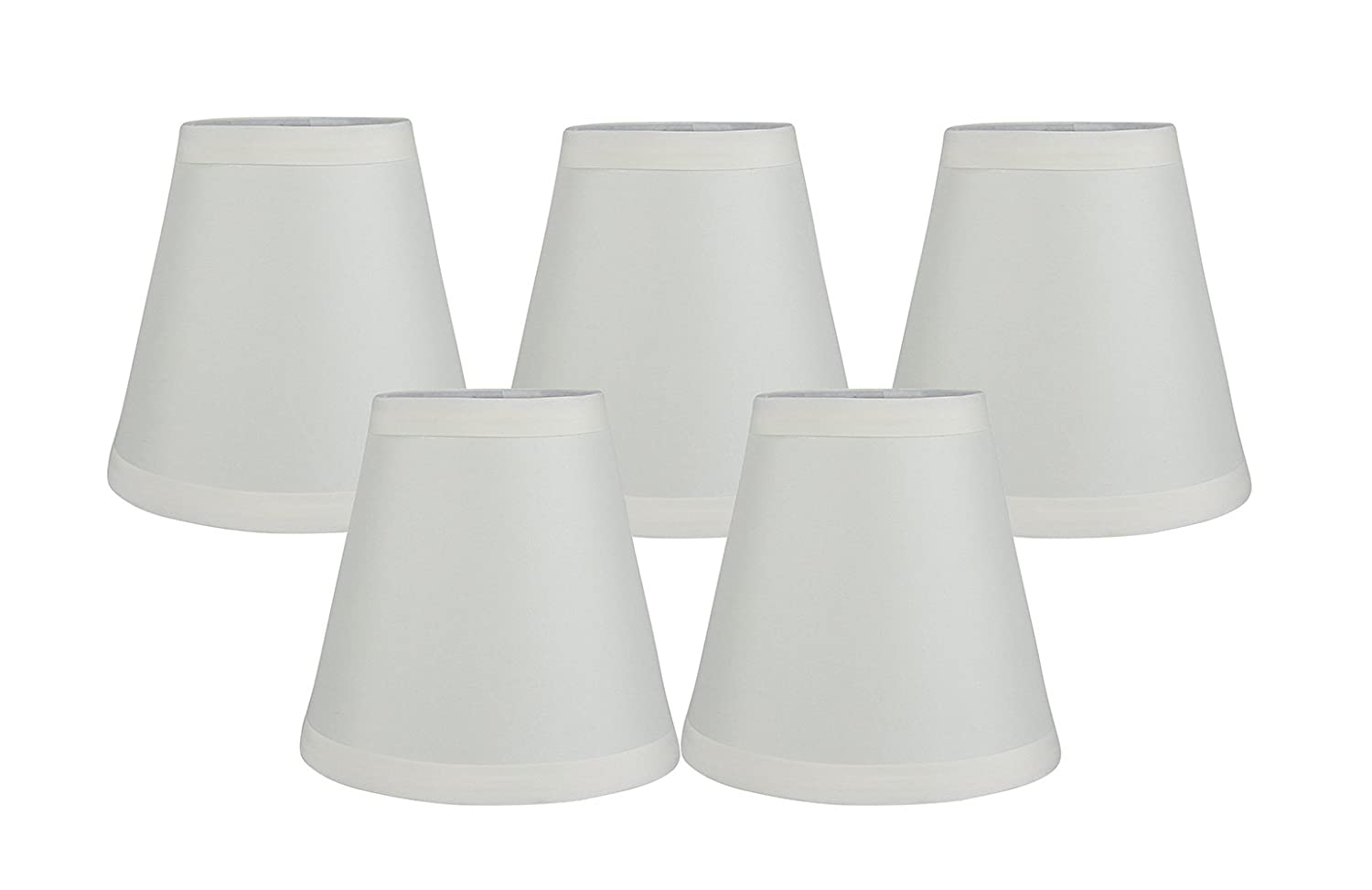 3-inch by 5-inch by 4.75-inch Meriville Set of 5 Eggshell Faux Silk Clip On Chandelier Lamp Shades