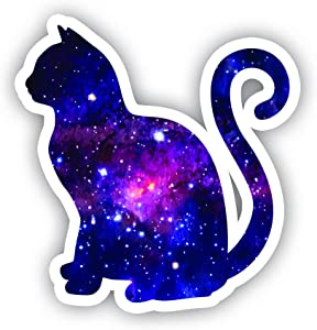 "Cat Sitting Galaxy Sticker - Laptop Stickers - 2.5"" Vinyl Decal - Laptop, Phone, Tablet Vinyl Decal Sticker"