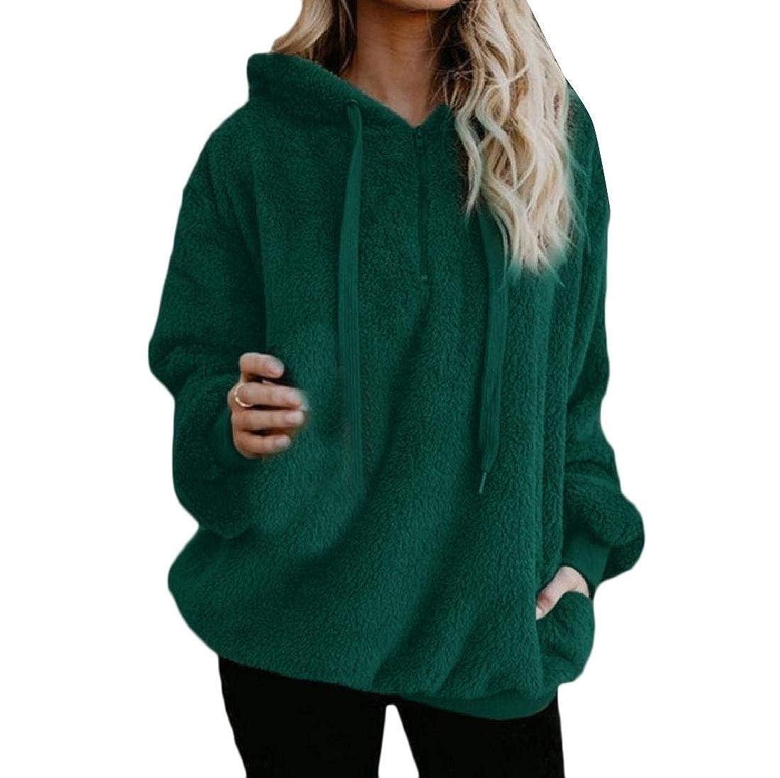 Maisicolis Womens Sweatshirt Pullover Faux Fur Fleece Classic Hoodie