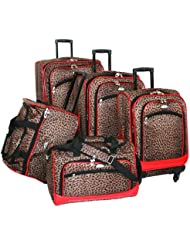 American Flyer Luggage AnimalPrint 5 Piece Spinner Set, Leopard Red, One Size