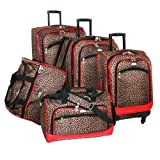 American Flyer Luggage Animal Print 5 Piece Spinner Set, Leopard Red, One Size