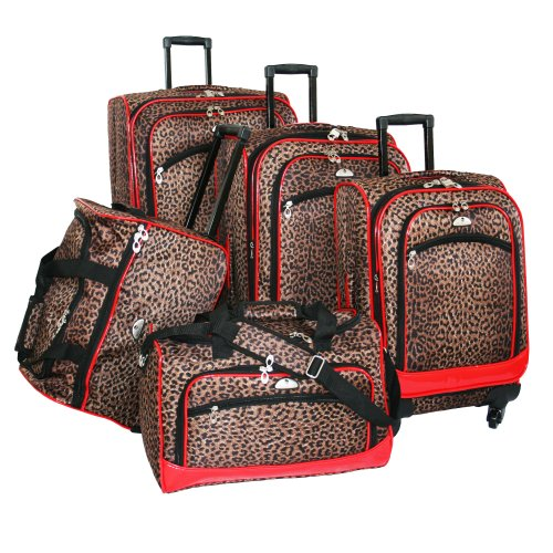 American Flyer Luggage AnimalPrint 5 Piece Spinner Set, ...